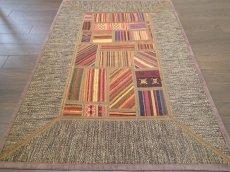 画像4: ペルシャ キリム ジャジーム パッチワーク ラグ 玄関 マット サイズ92 x 63 cm 1763 平織り 天然 ウール 絨毯 敷物 カーペット 茶 マルチ カラー カラフル (4)