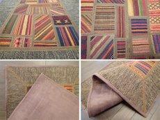 画像8: ペルシャ キリム ジャジーム パッチワーク ラグ 玄関 マット サイズ92 x 63 cm 1763 平織り 天然 ウール 絨毯 敷物 カーペット 茶 マルチ カラー カラフル (8)