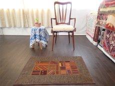 画像3: ペルシャ キリム ジャジーム パッチワーク ラグ 玄関 マット サイズ92 x 63 cm 1763 平織り 天然 ウール 絨毯 敷物 カーペット 茶 マルチ カラー カラフル (3)