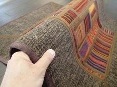 画像7: ペルシャ キリム ジャジーム パッチワーク ラグ 玄関 マット サイズ92 x 63 cm 1763 平織り 天然 ウール 絨毯 敷物 カーペット 茶 マルチ カラー カラフル (7)