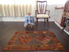 画像3: 新品 ペルシャ キリム ジャジム パッチワーク ラグ アクセント サイズ 124 x 78 cm No.1751  平織り 天然 ウール 絨毯 敷物 マット カーペット 茶 赤 マルチ カラー カラフル n-1751-124078sa08 (3)