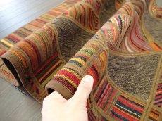 画像7: 新品 ペルシャ キリム ジャジム パッチワーク ラグ アクセント サイズ 124 x 78 cm No.1751  平織り 天然 ウール 絨毯 敷物 マット カーペット 茶 赤 マルチ カラー カラフル n-1751-124078sa08 (7)