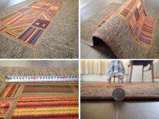 画像9: ペルシャ キリム ジャジーム パッチワーク ラグ 玄関 マット サイズ92 x 63 cm 1763 平織り 天然 ウール 絨毯 敷物 カーペット 茶 マルチ カラー カラフル (9)