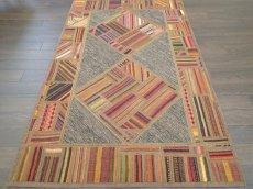 画像4: 新品 ペルシャ キリム ジャジム パッチワーク ラグ アクセント サイズ 124 x 78 cm No.1751  平織り 天然 ウール 絨毯 敷物 マット カーペット 茶 赤 マルチ カラー カラフル n-1751-124078sa08 (4)