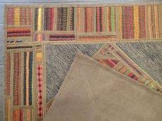 画像6: 新品 ペルシャ キリム ジャジム パッチワーク ラグ アクセント サイズ 124 x 78 cm No.1751  平織り 天然 ウール 絨毯 敷物 マット カーペット 茶 赤 マルチ カラー カラフル n-1751-124078sa08 (6)