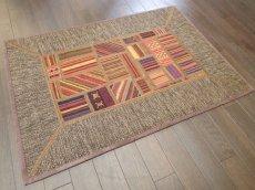 画像2: ペルシャ キリム ジャジーム パッチワーク ラグ 玄関 マット サイズ92 x 63 cm 1763 平織り 天然 ウール 絨毯 敷物 カーペット 茶 マルチ カラー カラフル (2)