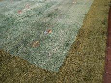 画像6: 新品 ペルシャ ギャッベ リビング サイズ ラグ 180 x 148 cm 20 ハンドメイド ギャベ 天然 ウール 手織り 絨毯 カーペット ナチュラル 緑 グリーン シンプル 動物 柄 (6)