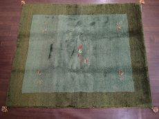 画像2: 新品 ペルシャ ギャッベ リビング サイズ ラグ 180 x 148 cm 20 ハンドメイド ギャベ 天然 ウール 手織り 絨毯 カーペット ナチュラル 緑 グリーン シンプル 動物 柄 (2)