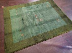 画像3: 新品 ペルシャ ギャッベ リビング サイズ ラグ 180 x 148 cm 20 ハンドメイド ギャベ 天然 ウール 手織り 絨毯 カーペット ナチュラル 緑 グリーン シンプル 動物 柄 (3)