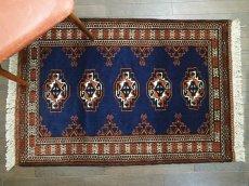 画像1: 新品 トルクメン ペルシャ 絨毯 1.2m アクセント サイズ 126 x 84 cm 195 トライバル ラグ 天然 ウール 敷物 マット カーペット 紺 エンジ 茶 赤 民族 柄 (1)