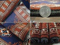 画像10: 新品 トルクメン ペルシャ 絨毯 1.2m アクセント サイズ 126 x 84 cm 195 トライバル ラグ 天然 ウール 敷物 マット カーペット 紺 エンジ 茶 赤 民族 柄 (10)