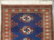 画像3: 新品 トルクメン ペルシャ 絨毯 1.2m アクセント サイズ 126 x 84 cm 195 トライバル ラグ 天然 ウール 敷物 マット カーペット 紺 エンジ 茶 赤 民族 柄 (3)