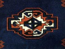 画像6: 新品 トルクメン ペルシャ 絨毯 1.2m アクセント サイズ 126 x 84 cm 195 トライバル ラグ 天然 ウール 敷物 マット カーペット 紺 エンジ 茶 赤 民族 柄 (6)
