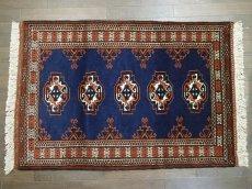 画像2: 新品 トルクメン ペルシャ 絨毯 1.2m アクセント サイズ 126 x 84 cm 195 トライバル ラグ 天然 ウール 敷物 マット カーペット 紺 エンジ 茶 赤 民族 柄 (2)