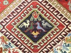 画像7: ペルシャ キリム グーチャン シルク ウール 1m 玄関 マット サイズ 100 x 82 cm 128 スマック 手織り トライバル ラグ 天然 ウール マット 絨毯 カーペット カラフル 動物 柄 (7)