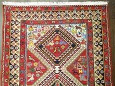 画像1: ペルシャ キリム グーチャン シルク ウール 1m 玄関 マット サイズ 100 x 82 cm 128 スマック 手織り トライバル ラグ 天然 ウール マット 絨毯 カーペット カラフル 動物 柄 (1)
