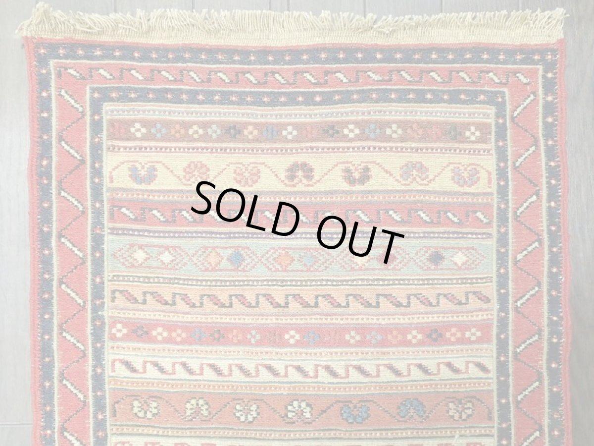 画像1: ペルシャ キリム グーチャン 1m 玄関 マット サイズ 100 x 52 cm 133 スマック 手織り トライバル ラグ 天然 ウール マット 絨毯 カーペット カラフル (1)