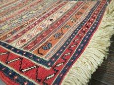 画像6: ペルシャ キリム グーチャン 1m 玄関 マット サイズ 100 x 52 cm 133 スマック 手織り トライバル ラグ 天然 ウール マット 絨毯 カーペット カラフル (6)