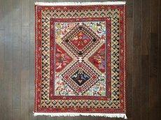 画像2: ペルシャ キリム グーチャン シルク ウール 1m 玄関 マット サイズ 100 x 82 cm 128 スマック 手織り トライバル ラグ 天然 ウール マット 絨毯 カーペット カラフル 動物 柄 (2)