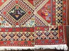 画像10: ペルシャ キリム グーチャン シルク ウール 1m 玄関 マット サイズ 100 x 82 cm 128 スマック 手織り トライバル ラグ 天然 ウール マット 絨毯 カーペット カラフル 動物 柄 (10)