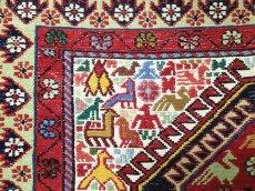 画像6: ペルシャ キリム グーチャン シルク ウール 1m 玄関 マット サイズ 100 x 82 cm 128 スマック 手織り トライバル ラグ 天然 ウール マット 絨毯 カーペット カラフル 動物 柄 (6)