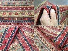画像9: ペルシャ キリム グーチャン 1m 玄関 マット サイズ 100 x 52 cm 134 スマック 手織り トライバル ラグ 天然 ウール マット 絨毯 カーペット カラフル ラフラ ボーダー (9)