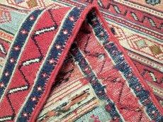 画像7: ペルシャ キリム グーチャン 1m 玄関 マット サイズ 100 x 52 cm 134 スマック 手織り トライバル ラグ 天然 ウール マット 絨毯 カーペット カラフル ラフラ ボーダー (7)