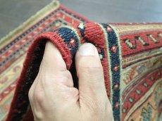 画像8: ペルシャ キリム グーチャン 1m 玄関 マット サイズ 100 x 52 cm 134 スマック 手織り トライバル ラグ 天然 ウール マット 絨毯 カーペット カラフル ラフラ ボーダー (8)
