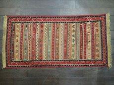 画像2: ペルシャ キリム グーチャン 1m 玄関 マット サイズ 100 x 52 cm 134 スマック 手織り トライバル ラグ 天然 ウール マット 絨毯 カーペット カラフル ラフラ ボーダー (2)