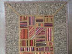 画像4: ペルシャ キリム パッチワーク ラグ 玄関 マット サイズ 92 x 64  cm 1764 平織り 天然 ウール 絨毯 敷物 カーペット 茶 灰 赤 黄 マルチ カラー (4)