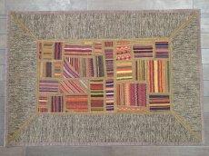画像2: ペルシャ キリム パッチワーク ラグ 玄関 マット サイズ 92 x 64  cm 1764 平織り 天然 ウール 絨毯 敷物 カーペット 茶 灰 赤 黄 マルチ カラー (2)