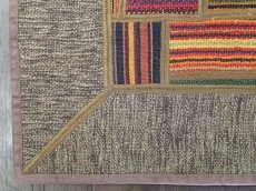 画像8: ペルシャ キリム パッチワーク ラグ 玄関 マット サイズ 92 x 64  cm 1764 平織り 天然 ウール 絨毯 敷物 カーペット 茶 灰 赤 黄 マルチ カラー (8)