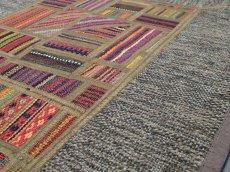 画像7: ペルシャ キリム パッチワーク ラグ 玄関 マット サイズ 92 x 64  cm 1764 平織り 天然 ウール 絨毯 敷物 カーペット 茶 灰 赤 黄 マルチ カラー (7)