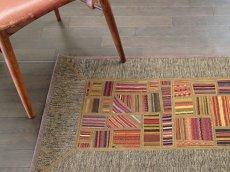画像1: ペルシャ キリム パッチワーク ラグ 玄関 マット サイズ 92 x 64  cm 1764 平織り 天然 ウール 絨毯 敷物 カーペット 茶 灰 赤 黄 マルチ カラー (1)