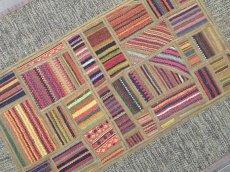 画像5: ペルシャ キリム パッチワーク ラグ 玄関 マット サイズ 92 x 64  cm 1764 平織り 天然 ウール 絨毯 敷物 カーペット 茶 灰 赤 黄 マルチ カラー (5)