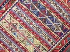 画像4: 新品 ペルシャ キリム グーチャン 1m 玄関 マット サイズ 101 x 51 cm S149 スマック 手織り トライバル ラグ 天然 ウール マット 絨毯 カーペット カラフル ラフラ ボーダー (4)