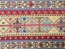 画像7: 新品 ペルシャ キリム グーチャン 1m 玄関 マット サイズ 101 x 51 cm S149 スマック 手織り トライバル ラグ 天然 ウール マット 絨毯 カーペット カラフル ラフラ ボーダー (7)