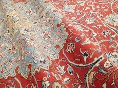 画像11: 美品 ペルシャ 絨毯 サルーク 3.4m リビング ダイニング 大判 サイズ 333 x 218 cm n239 ウール 手織り トライバル ラグ ハンドメイド マット カーペット 淡色 水色 赤 紺 ヴィンテージ (11)