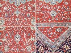 画像17: 美品 ペルシャ 絨毯 サルーク 3.4m リビング ダイニング 大判 サイズ 333 x 218 cm n239 ウール 手織り トライバル ラグ ハンドメイド マット カーペット 淡色 水色 赤 紺 ヴィンテージ (17)