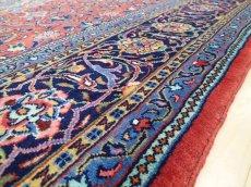 画像12: 美品 ペルシャ 絨毯 サルーク 3.4m リビング ダイニング 大判 サイズ 335 x 238 cm n240 ウール 手織り トライバル ラグ ハンドメイド マット カーペット 水色 赤 紺 ヴィンテージ (12)