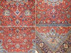画像17: 美品 ペルシャ 絨毯 サルーク 3.4m リビング ダイニング 大判 サイズ 335 x 238 cm n240 ウール 手織り トライバル ラグ ハンドメイド マット カーペット 水色 赤 紺 ヴィンテージ (17)