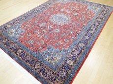 画像5: 美品 ペルシャ 絨毯 サルーク 3.4m リビング ダイニング 大判 サイズ 335 x 238 cm n240 ウール 手織り トライバル ラグ ハンドメイド マット カーペット 水色 赤 紺 ヴィンテージ (5)