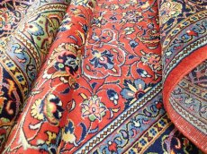 画像13: 美品 ペルシャ 絨毯 サルーク 3.4m リビング ダイニング 大判 サイズ 335 x 238 cm n240 ウール 手織り トライバル ラグ ハンドメイド マット カーペット 水色 赤 紺 ヴィンテージ (13)