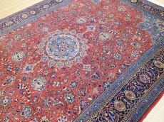 画像8: 美品 ペルシャ 絨毯 サルーク 3.4m リビング ダイニング 大判 サイズ 335 x 238 cm n240 ウール 手織り トライバル ラグ ハンドメイド マット カーペット 水色 赤 紺 ヴィンテージ (8)
