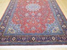 画像9: 美品 ペルシャ 絨毯 サルーク 3.4m リビング ダイニング 大判 サイズ 335 x 238 cm n240 ウール 手織り トライバル ラグ ハンドメイド マット カーペット 水色 赤 紺 ヴィンテージ (9)