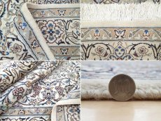 画像20: 美品 ペルシャ 絨毯 ナイン 9la 3m リビング ダイニング 大判 サイズ 300 x 192 cm n223 ウール 手織り ラグ ハンドメイド カーペット 敷物 クラシック スタイル クリーム アイボリー 生成り 白 青 ヴィンテージ (20)