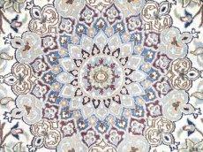 画像8: 美品 ペルシャ 絨毯 ナイン 9la 3m リビング ダイニング 大判 サイズ 300 x 192 cm n223 ウール 手織り ラグ ハンドメイド カーペット 敷物 クラシック スタイル クリーム アイボリー 生成り 白 青 ヴィンテージ (8)