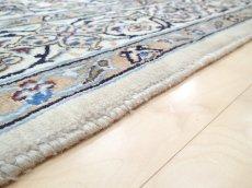 画像11: 美品 ペルシャ 絨毯 ナイン 9la 3m リビング ダイニング 大判 サイズ 300 x 192 cm n223 ウール 手織り ラグ ハンドメイド カーペット 敷物 クラシック スタイル クリーム アイボリー 生成り 白 青 ヴィンテージ (11)