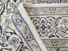 画像14: 美品 ペルシャ 絨毯 ナイン 9la 3m リビング ダイニング 大判 サイズ 300 x 192 cm n223 ウール 手織り ラグ ハンドメイド カーペット 敷物 クラシック スタイル クリーム アイボリー 生成り 白 青 ヴィンテージ (14)