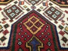 画像15: 新品 ペルシャ 絨毯 ハマダン 玄関 ドア マット サイズ 96 x 80 cm 13 ウール 天然 手織り トライバル ラグ 敷物 カーペット ブラック ネイビー 生成り 民族 動物 柄 (15)